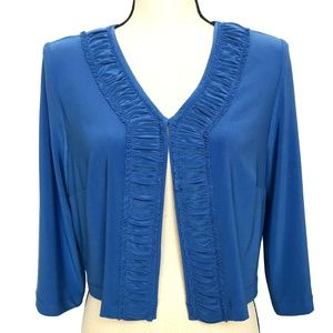 Dressbarn Blue Cardigan with Gathered Trim
